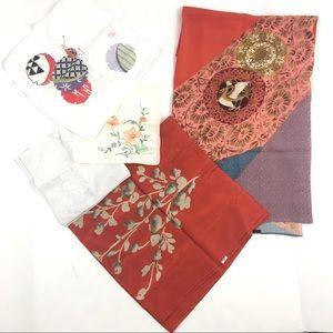 Vintage Asian Scarf Lot Floral Bird Silky Cotton